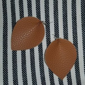 Camel color brown leather earrings